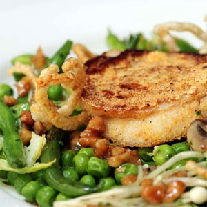 Buttermilk Crusted Pork Belly on Peas and Sprouts