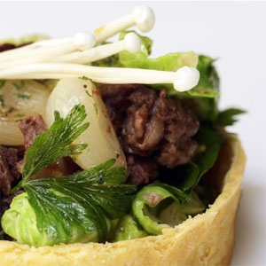 Braised Lamb and Parmesan Polenta Tartlet