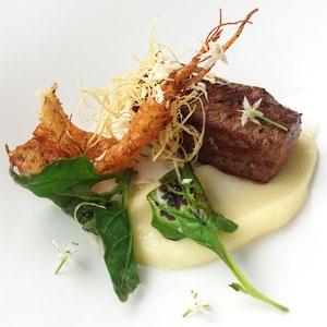 Beef Flatiron, Parsnips, Greens and Horseradish