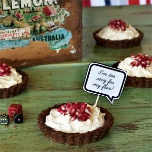 Bittersweet Chocolate & Pomegranate Tarts