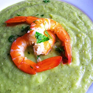 Chilled Leek, Pea and Cucumber Soup with Prawns