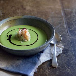 Chilled Pea Soup with Crab Salad by Manu Feildel