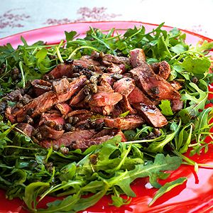Steak with Balsamic Sauce and Rocket