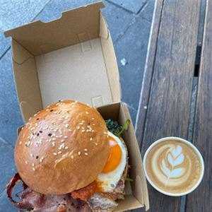 Bacon & egg roll with small coffee Just $15