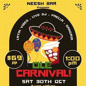 Ole Carnival! 3hr package $69pp Sat 30th Oct 1pm